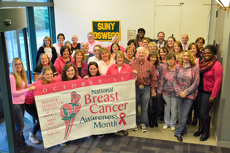 People dressed in pink to support breast cancer research and awareness