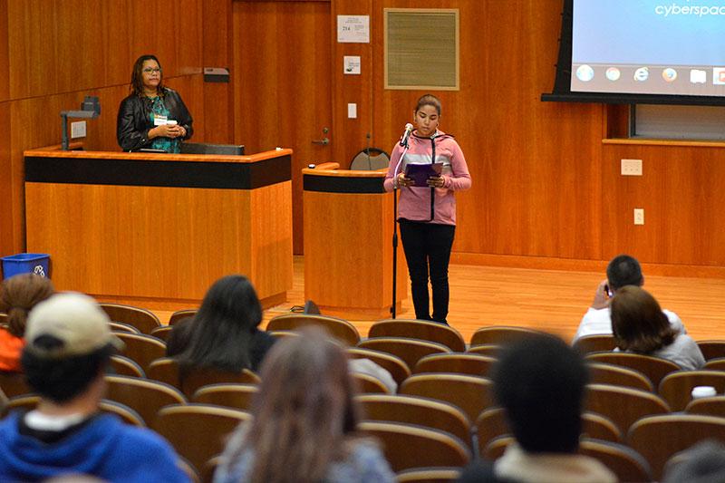 Daliana Gonzalez speaking at Blue Lives Matter Oz Speaks event