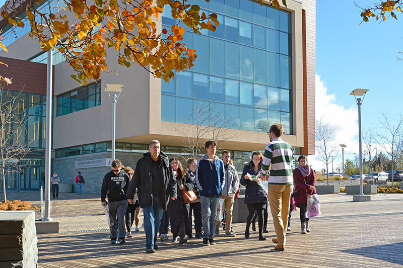 Visitors touring campus