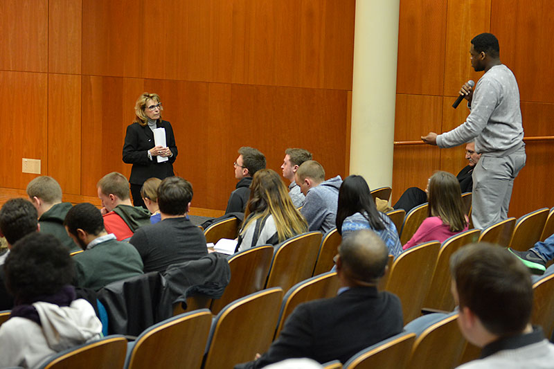 Student asks question at town hall meeting