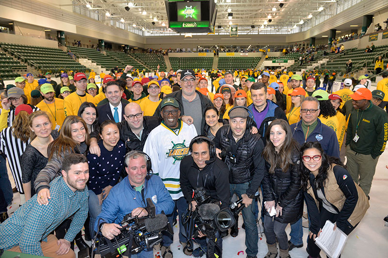 NBC crew with Al Roker and students