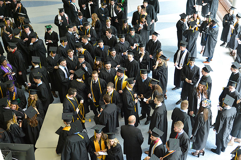 Graduating students viewed from above