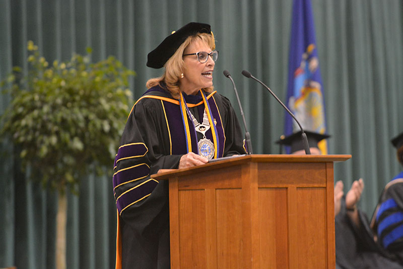 President Deborah F. Stanley speaking at Commencement