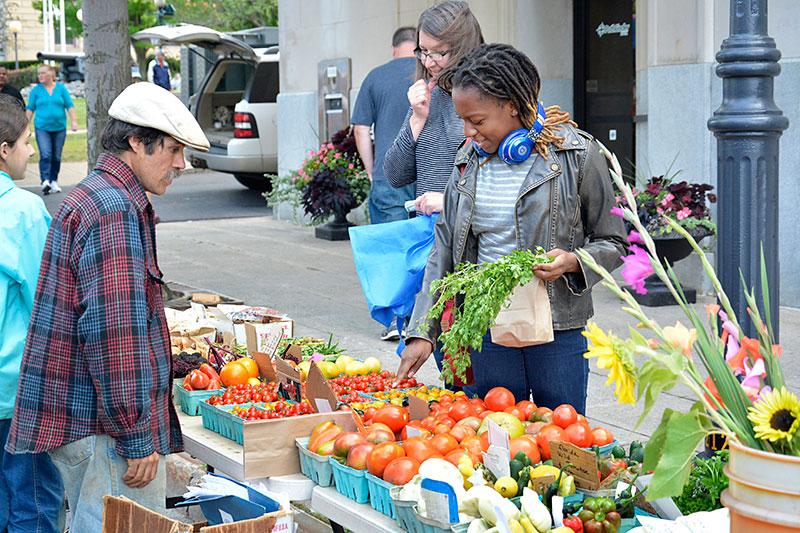 Student buying produce