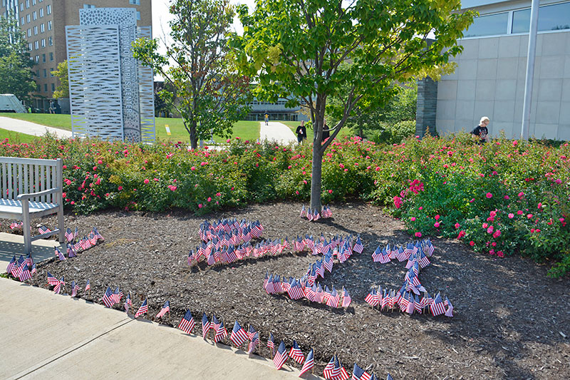 Flags spell out 9/11