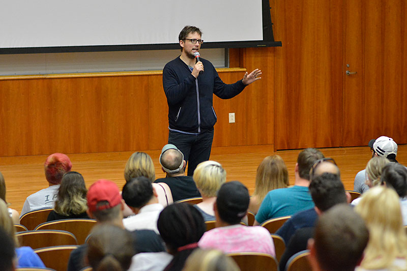 Owen Benjamin speaks with students