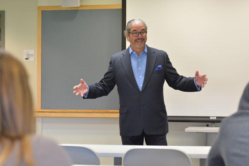 Lou Borrelli speaks to a class