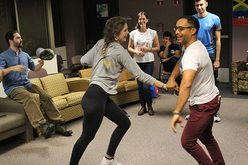 DJ and choreographer Robert Perez (right) dances Nov. 4 with student Paloma Garcia Martin