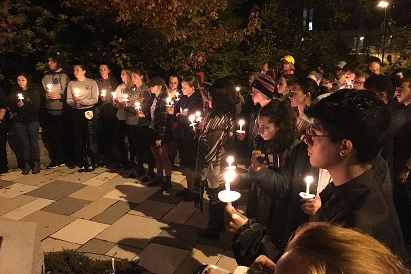 Students at Stronger Than Hate campus vigil