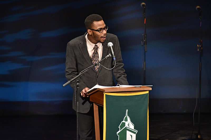 Student Lamont Sadler speaks about life of Martin Luther King Jr.