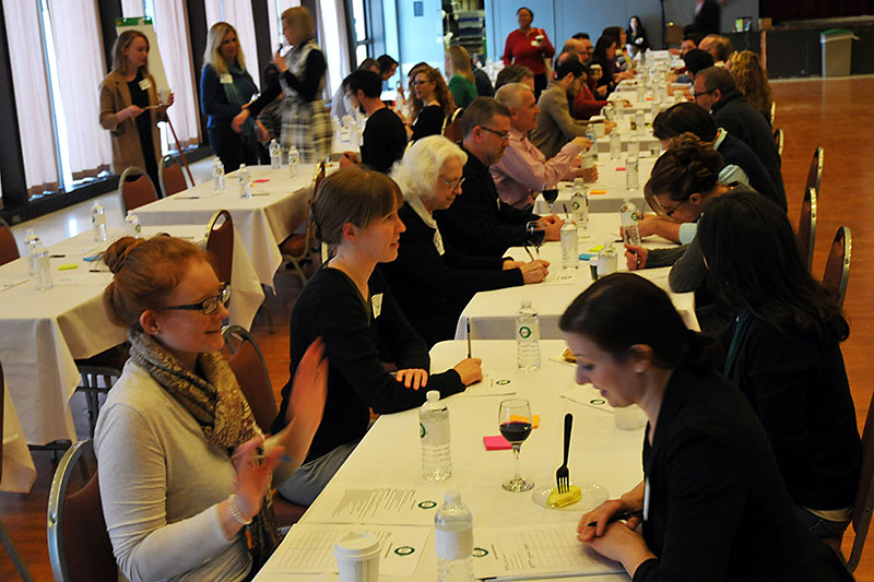 Faculty have conversations at College of Liberal Arts and Sciences interdisciplinary collaboration event