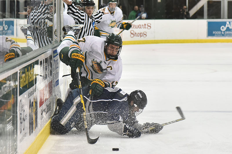 Mitchell Herlihey works with the puck