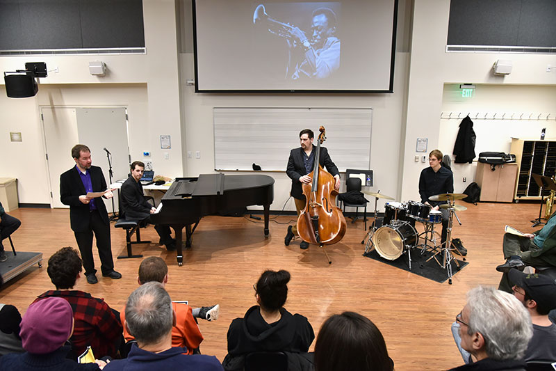 Eric Schmitz discussed artists whose work was performed at Black History Month Recital