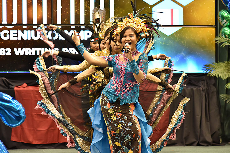 Students from Indonesia perform during the GENIUS Olympiad International Cultural Fair