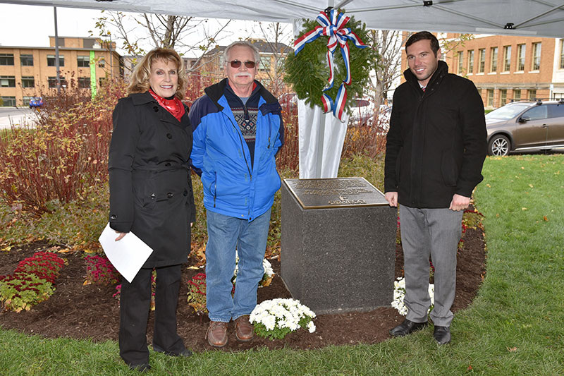 President Deborah F. Stanley, Oswego Town Supervisor Richard Kaulfuss and Oswego Mayor William J. Barlow Jr. dedicate monument for World War I Armistice centennial