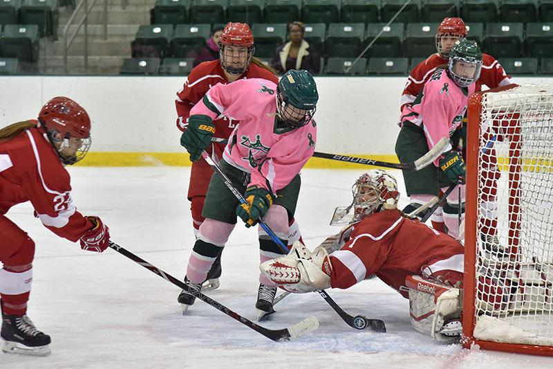 Laker hockey player Eryn Stewart scores goal
