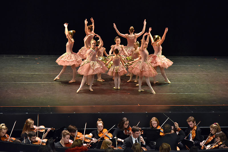 Ballerinas from SUNY Oswego and the Oswego community dance to a selection from Tchaikovsky's Nutcracker