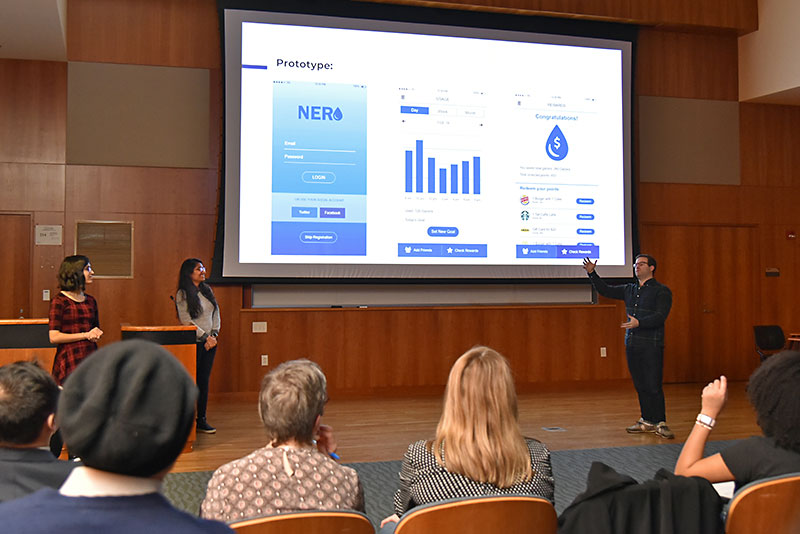 Students present on their water-usage app prototype