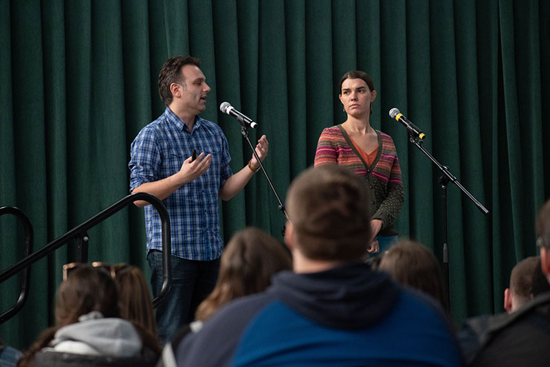 Steve Johnson and Jacy Good, representing Hang Up and Drive, speak about the importance of avoiding distracted driving