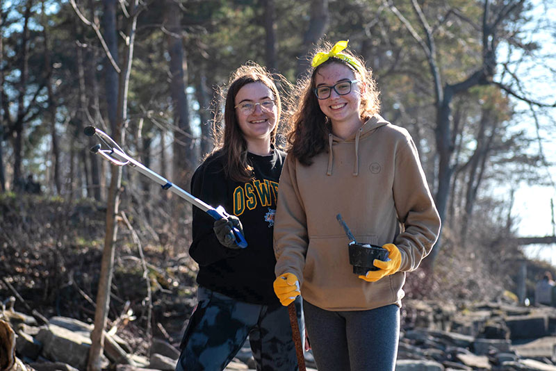 Students cleaned up the lakeside on Earth Day