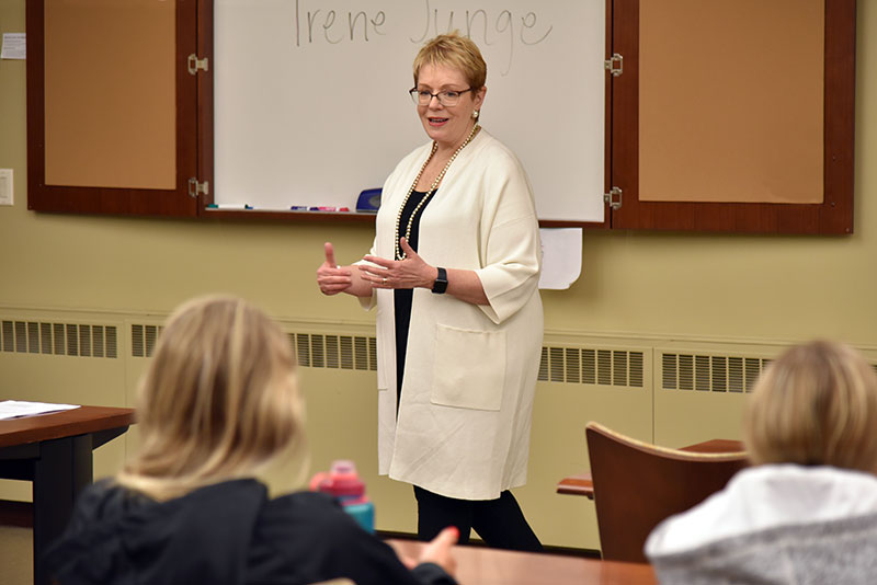 Irene Junge makes presentation to business students
