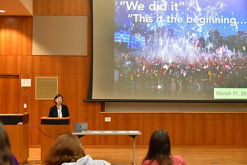 Jennifer Chun discussing Dramatizing Precarity in  the concluding Year of Korea presentation