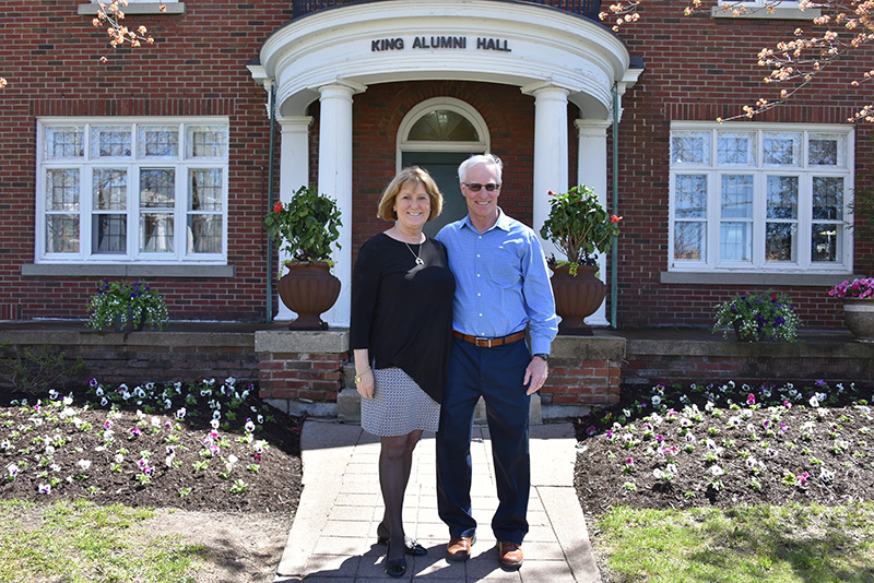 """Elizabeth """"Betsy"""" Oberst, associate vice president of alumni relations and stewardship, and her husband Jerry, at her retirement celebration"""