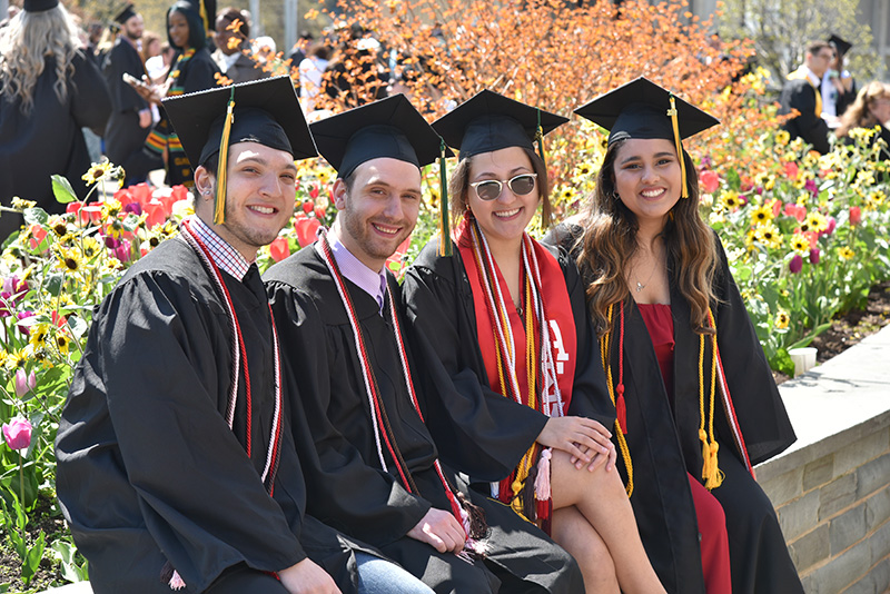 Communication studies students gather in advance of their Commencement