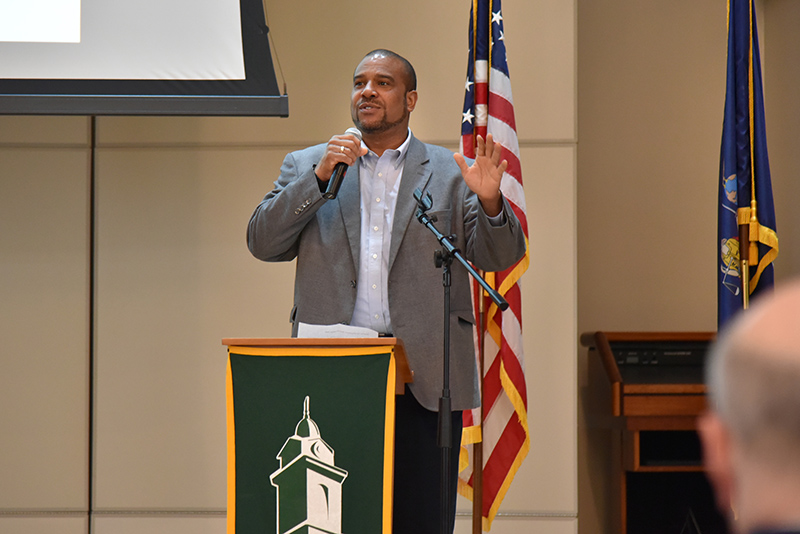Rodmon King, the college's chief diversity and inclusion officer, served as keynote speaker for the Employee Recognition Luncheon