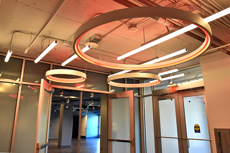 Cool lighting welcomes visitors to the new campus activities area known as The Space