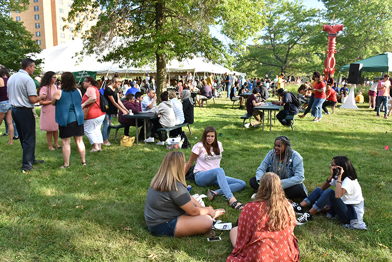 Students talk at Welcome Picnic
