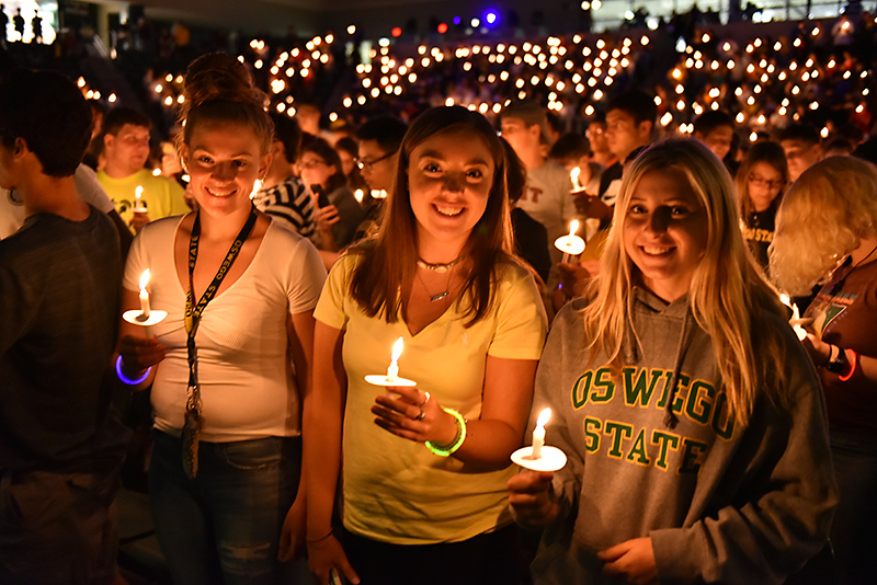 New students take part in the Welcoming Torchlight Ceremony on Aug. 23