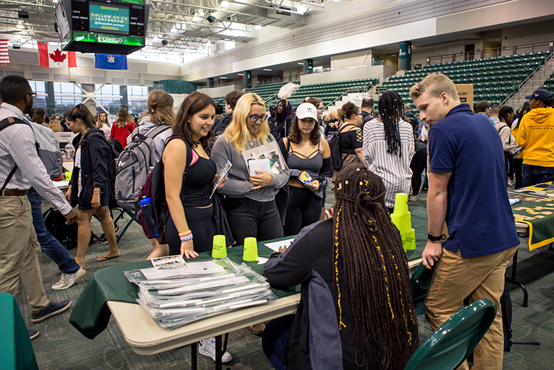 The fall Student Involvement Fair on Aug. 28 in Marano Campus Center featured many of the college's more than 200 student organizations
