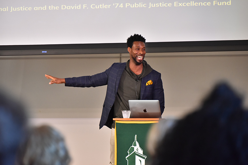 "Marlon Peterson discussed  ""What Does Justice Look Like?"" Sept. 18 in a talk sponsored by the David F. Cutler '74 Public Justice Excellence Fund"