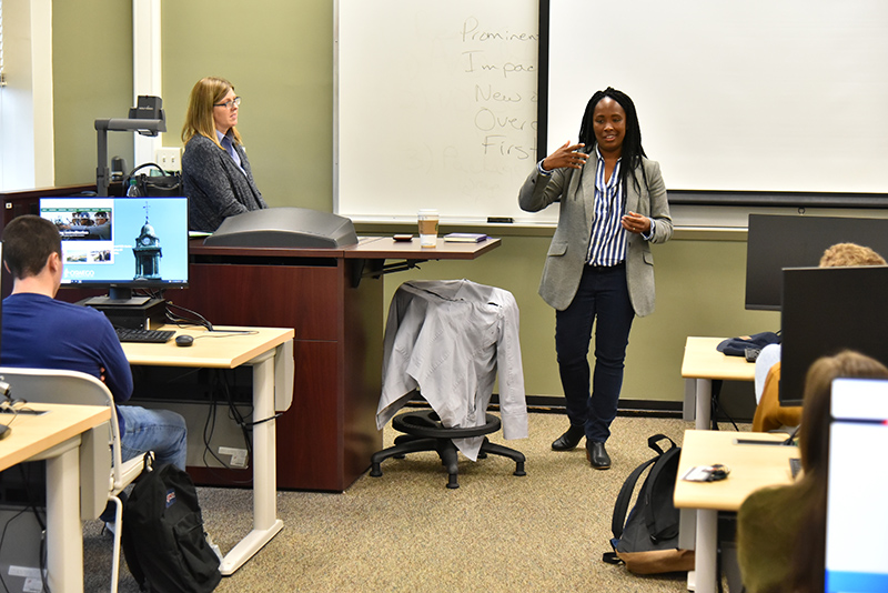 A 2006 Oswego graduate and deputy editor of news and ideas for Vice, Michelle Garcia spoke to students in Catherine Loper's Advanced Newswriting class