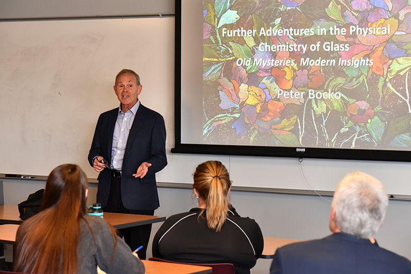 Dr. Peter Bocko -- a 1975 SUNY Oswego graduate, longtime chief technology officer for Corning Class and now teaching at Cornell University -- presenting