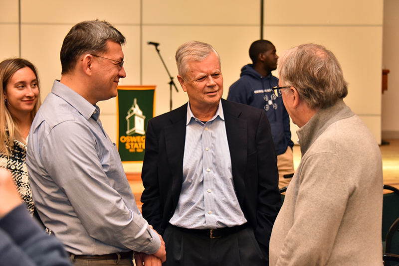 Award-winning journalist and author Stephen Kinzer (center) was the Oct. 12 keynote speaker for this year's Hart Hall Global Awareness Conference
