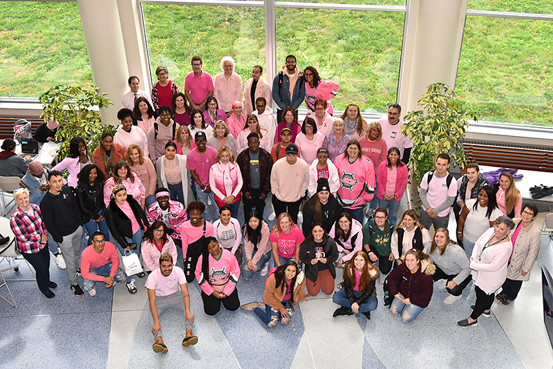 SUNY Oswego employees and students supported Wear Pink Day on Oct. 25