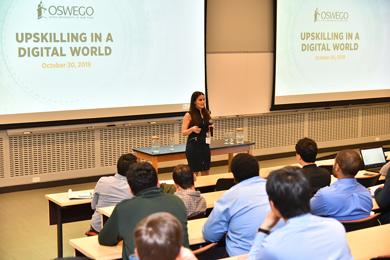 Dianora De Marco offers opening remarks at the Oct. 30 Upskilling in a Digital World event