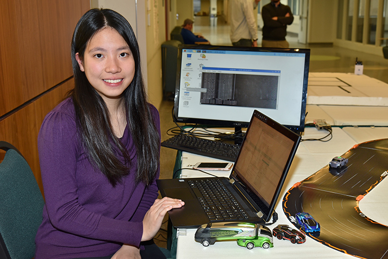 Ka Ying Chen demonstrating a robotic vehicle research