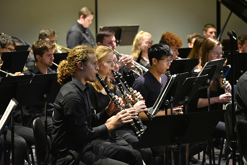The SUNY Oswego Wind Ensemble's early December concert offered a Waterman Theater audience a wide-ranging program