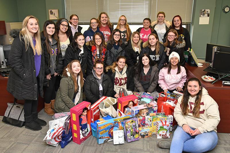 Oswego sororities were among the many entities who supported the college's 32nd annual Toy Drive and other campaigns to support the community around the holidays