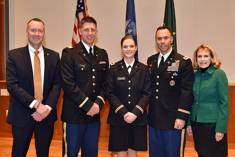 Two SUNY Oswego ROTC students each received U.S. Army commissions on Dec. 13