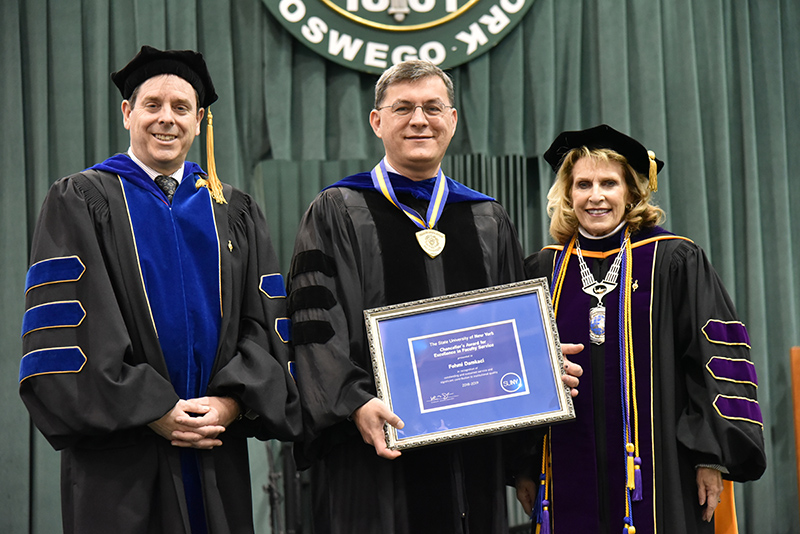 Fehmi Damcaki, professor and chair of SUNY Oswego's chemistry department and founder and director of the GENIUS Olympiad environmental competition, for receives a 2019 SUNY Chancellor's Award for Excellence in Faculty Service.