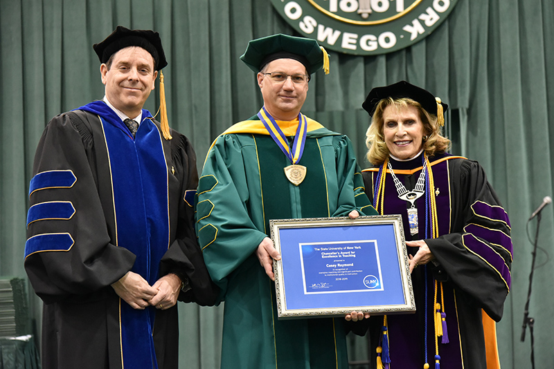 Casey Raymond, associate professor of chemistry at SUNY Oswego and acting director of the college's Honors Program, receives a 2019 SUNY Chancellor's Award for Excellence in Teaching