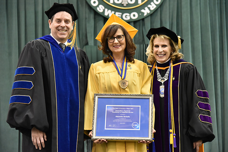 Alexandra Sorbello, artist designer with SUNY Oswego's Office of Residence Life and Housing, for receives a 2019 SUNY Chancellor's Award for Excellence in Classified Service.