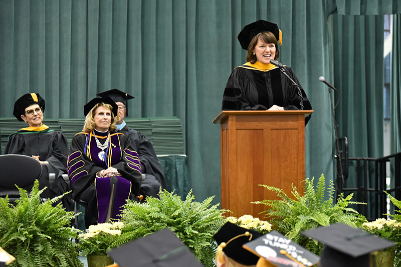 Dr. Marnie LaVigne, the president and CEO of Launch NY, gave the keynote address Dec. 14 at SUNY Oswego's December Commencement