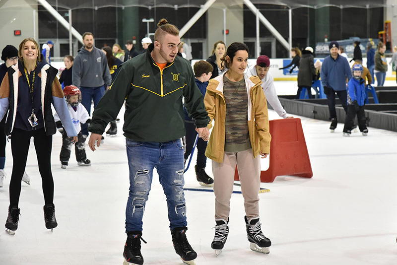 Students taking part in open skate