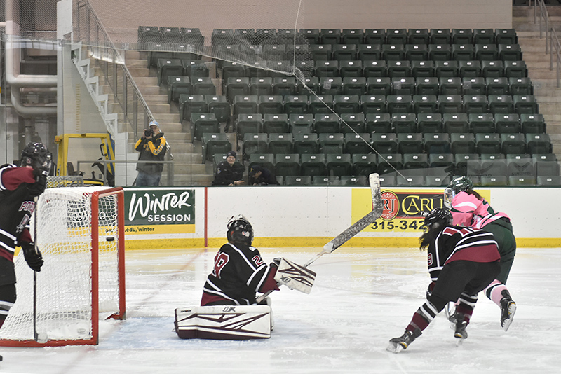 Women's hockey player Sara Cruise scores a goal