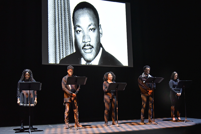Reading of MLK's Letter from Birmingham Jail by students Mariel Mendez, Shanya Sims, Iyuhna Callands, Tyler Guy and Lawrence Defay-Altenor